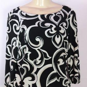 WHITE HOUSE BLACK MARKET BLACK MULTI DRESS XS
